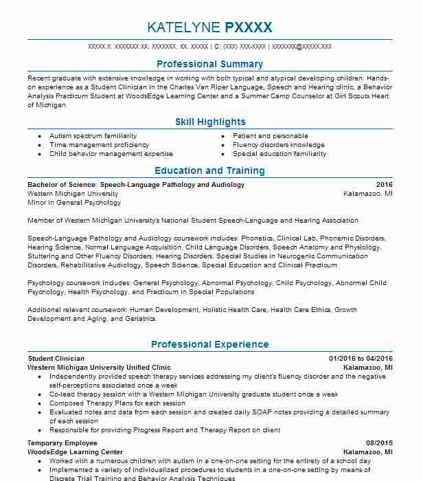 337 Speech Pathology And Audiology Resume Examples in Illinois ...