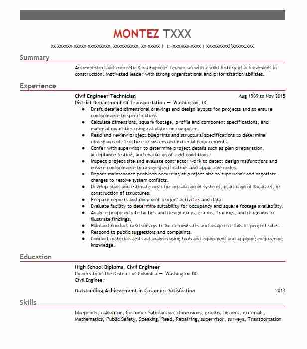 Civil Engineer Technician Resume Sample Livecareer