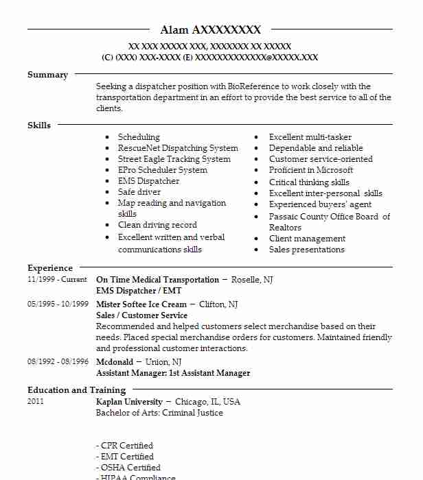 Ems Dispatcher Emt Resume Example On Time Medical Transportation