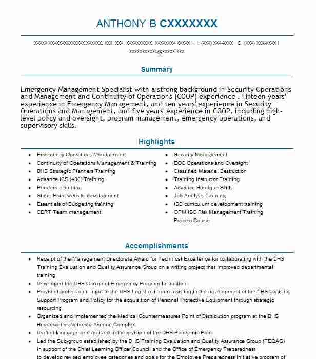 Emergency Management Specialist Resume Example Department Of ...