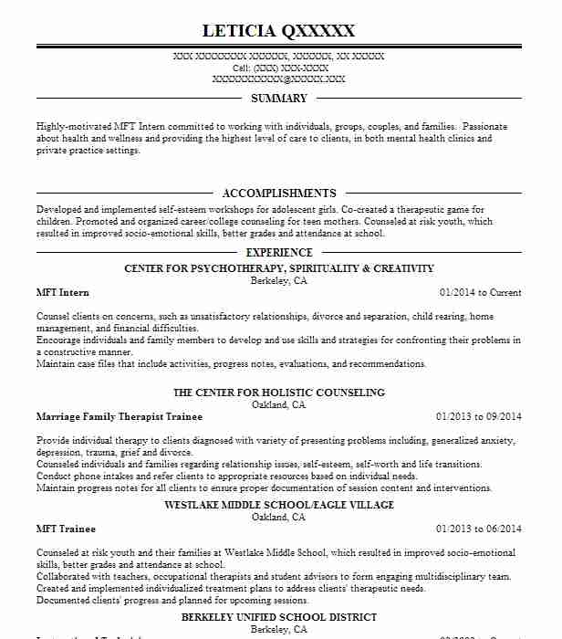 marriage and family therapist resume sample