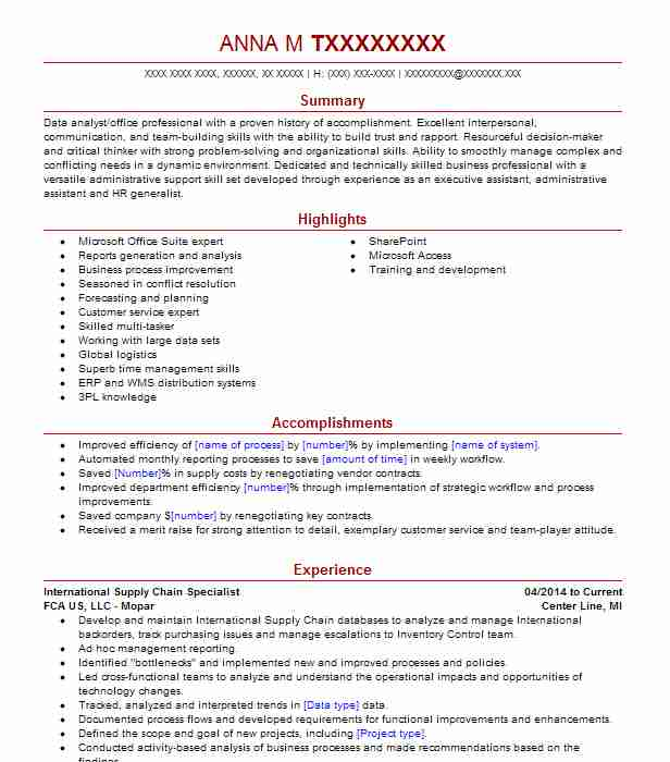 Supply Chain Specialist 1 Resume Example Boeing