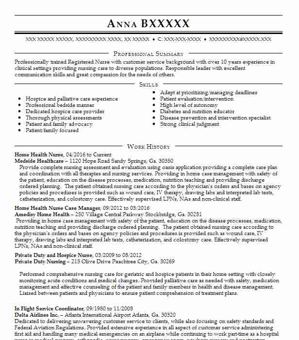 One Of The Many Examples Of Nursing Cover Letters Has Been: Home Health Nurse Resume Sample