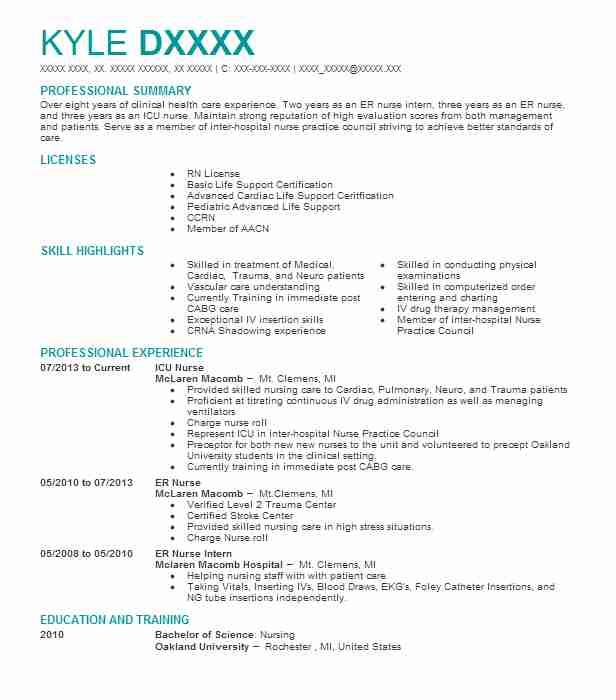 13 Clinical Experience On Resume: Icu Nurse Resume Sample