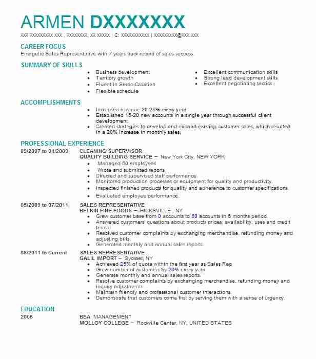 Cleaning Supervisor Resume Sample Supervisor Resumes