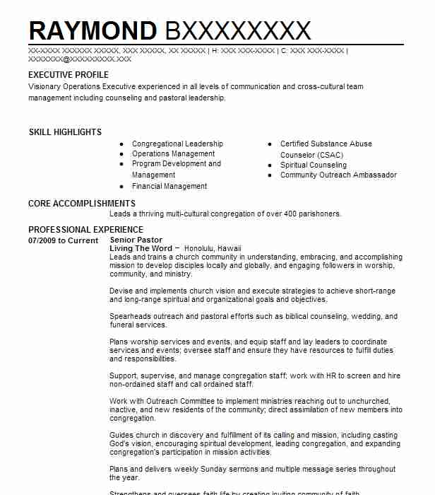 19 Religion And Theology Resume Examples In Hawaii Livecareer