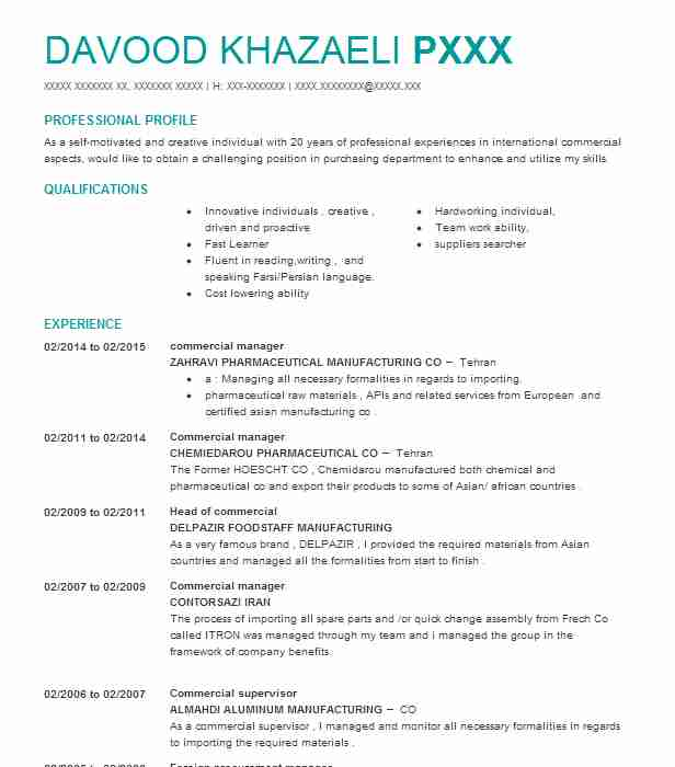 commercial manager resume sample