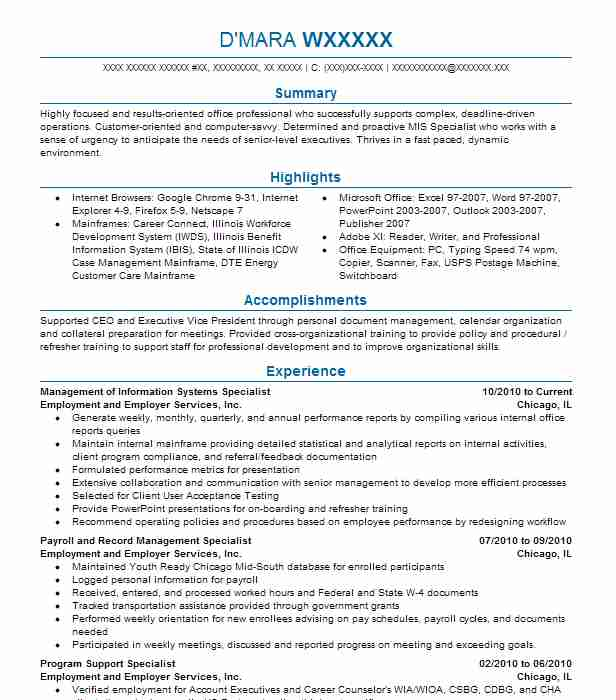 manager of management information systems resume example university of michigan