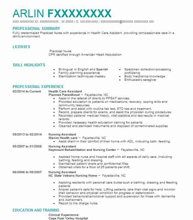 health care assistant resume sample