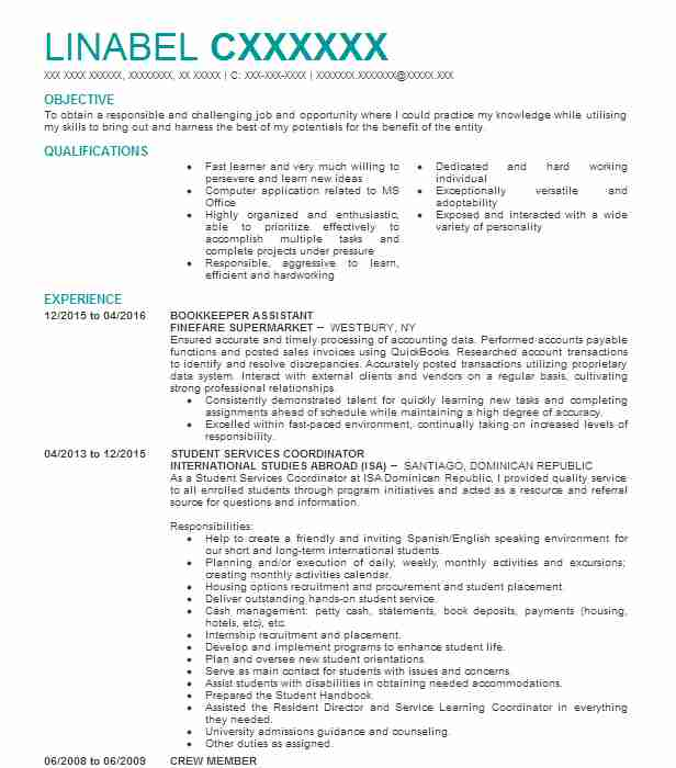 bookkeeper assistant resume sample