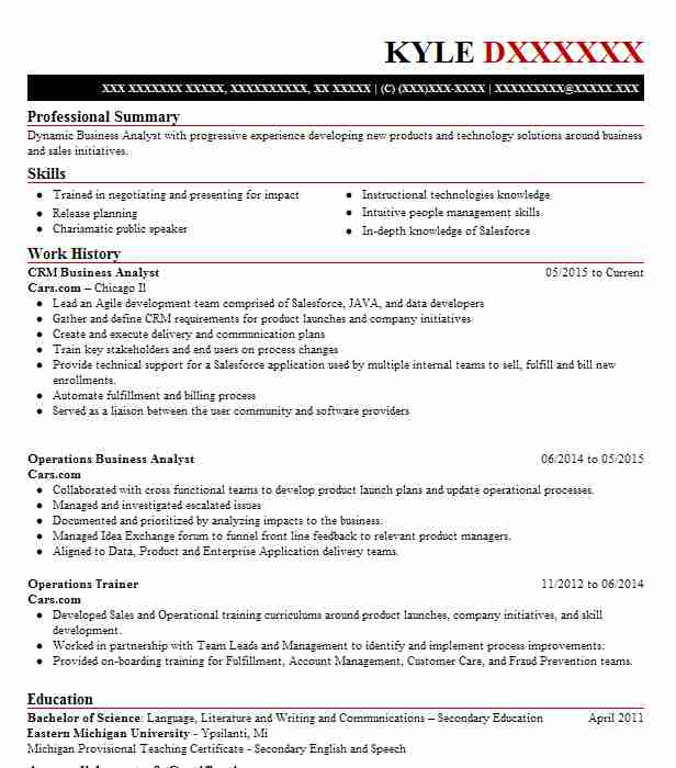 crm business analyst resume sample