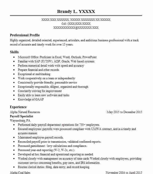 Best Payroll Specialist Resume Example Livecareer