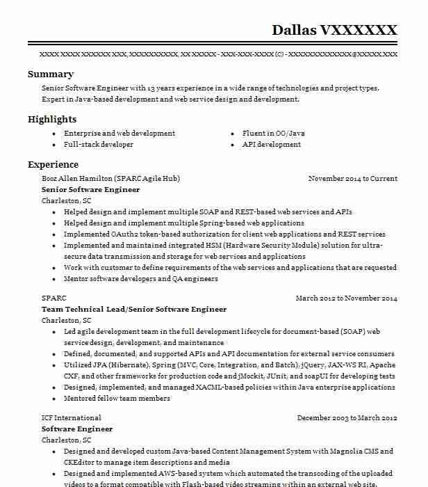 senior software engineer resume example h1b visa holder