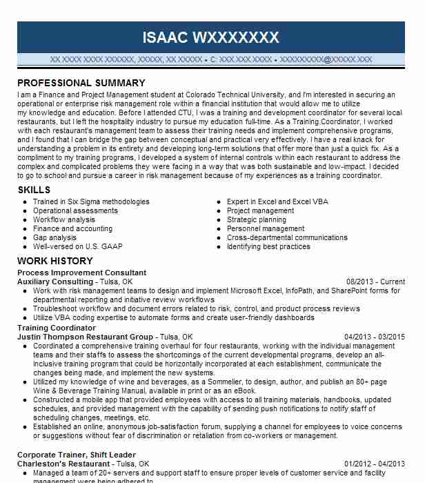 process improvement consultant resume sample