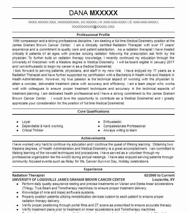 Radiation Therapist Resume Sample Resumes Misc Livecareer