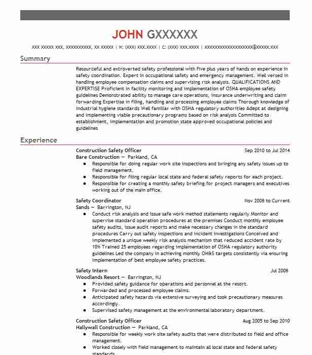 construction safety officer resume sample