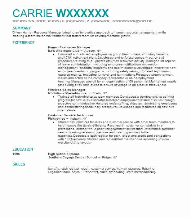 Best Human Resources Manager Resume Example | LiveCareer