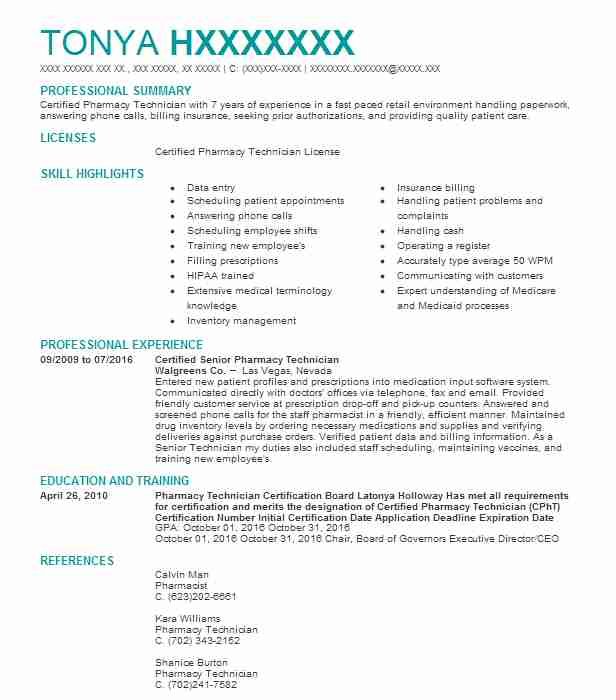 Certified Senior Pharmacy Technician Resume Example (Walgreens Co ...