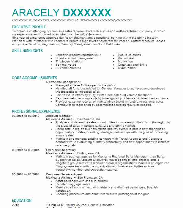 account manager resume example mexicana airlines olivehurst