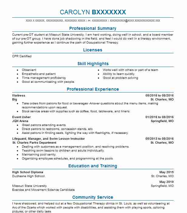 1038 occupational and physical therapy resume examples in missouri