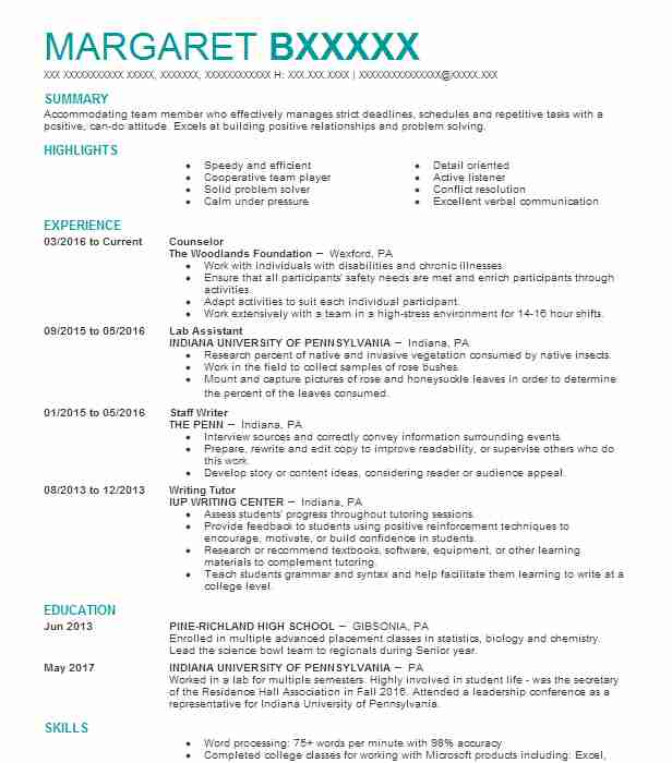 counselor resume sample counselor resumes livecareer