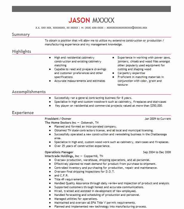 owner operator president resume example company name