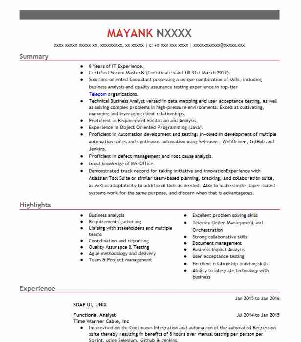functional analyst resume sample