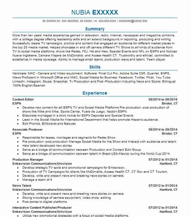 Content Editor Resume Sample | Resumes Misc | LiveCareer