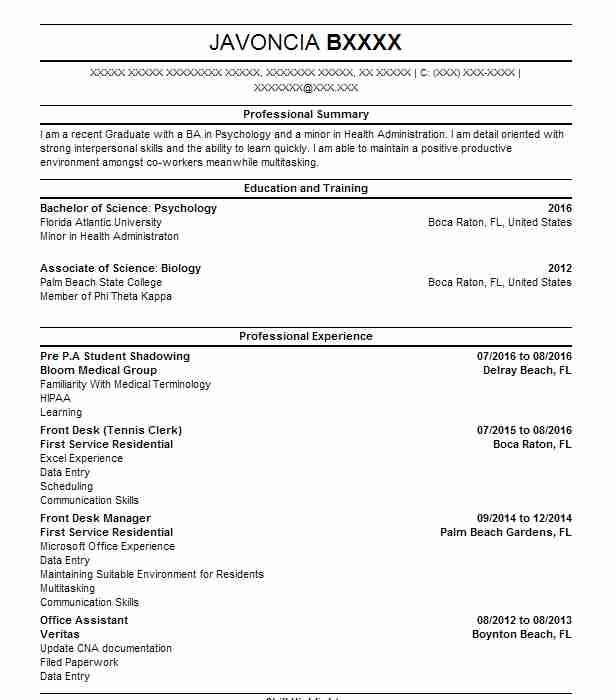 Shadowing Student Resume Example Health Institute Of Miami