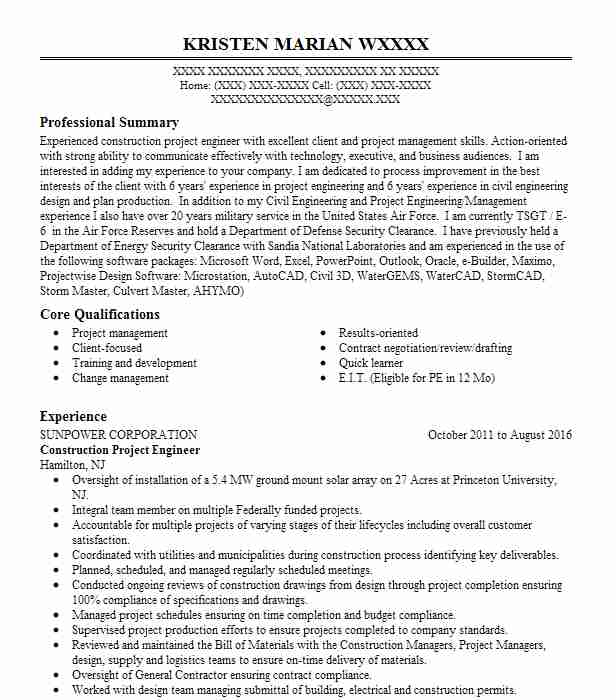 construction project engineer resume sample