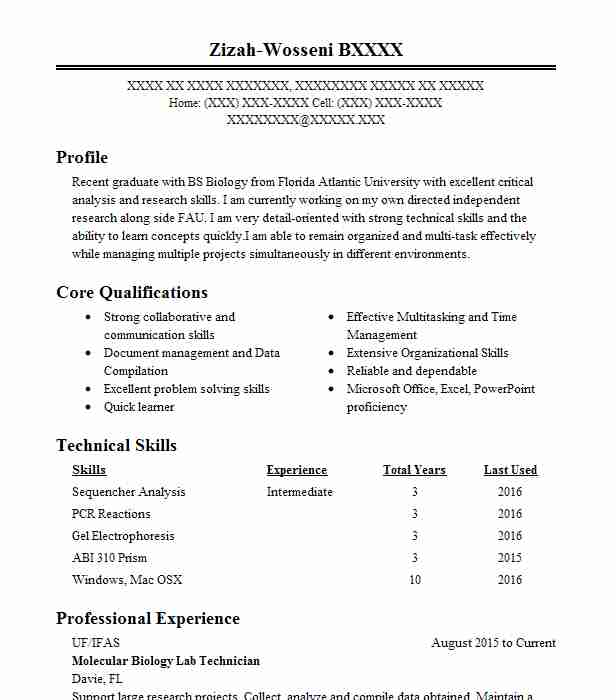 molecular biology intern resume example lawrence berkeley