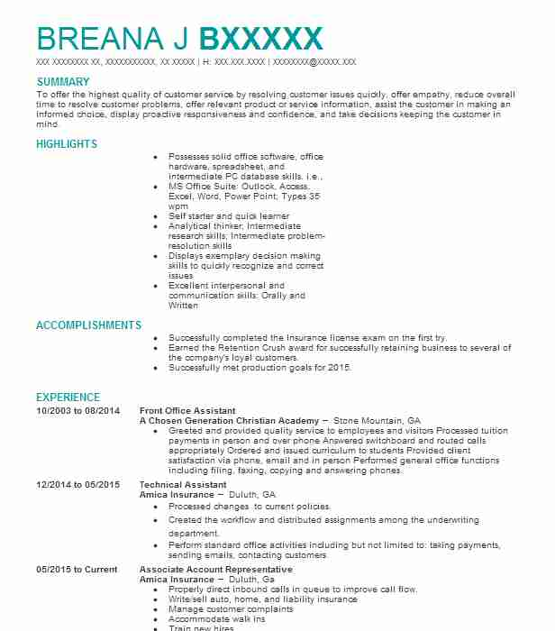 Front Office Assistant Resume Sample Assistant Resumes