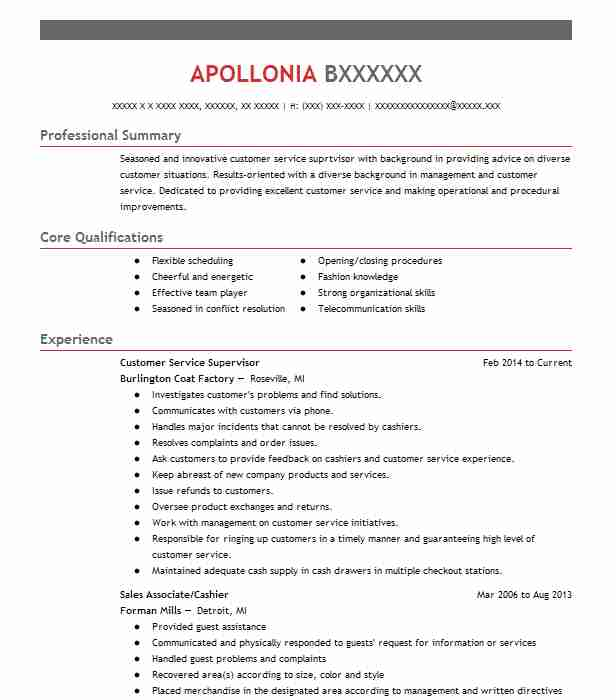 customer service supervisor resume sample livecareer