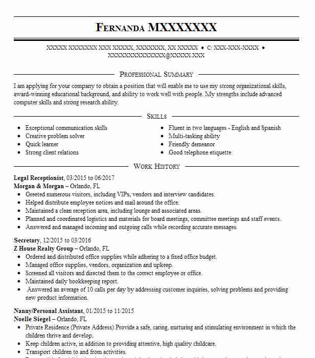 Best Legal Receptionist Resume Example