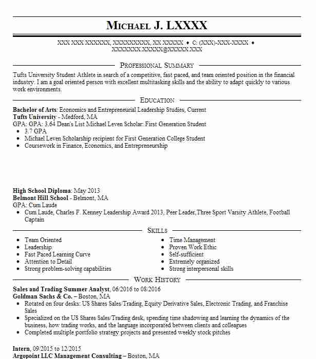 institutional equity sales and trading intern resume