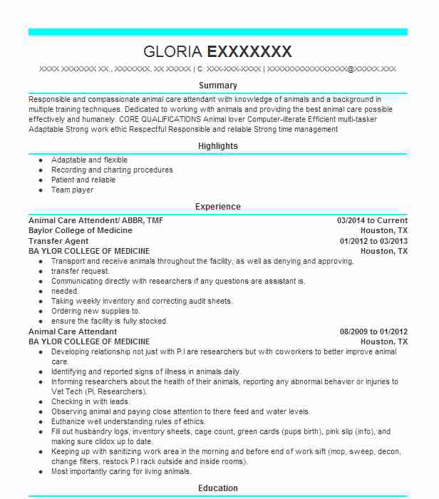 4259 Animal Science Resume Examples | Veterinary Resumes | LiveCareer