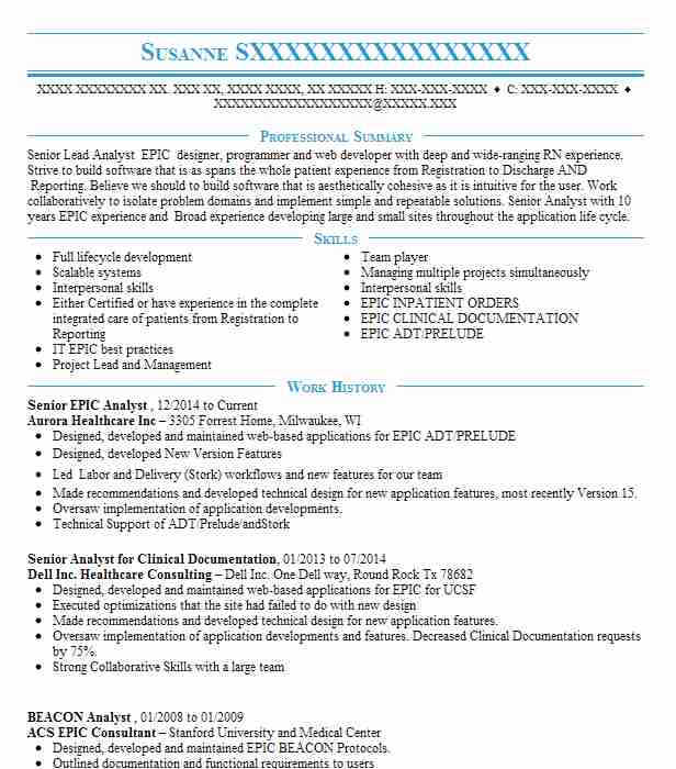 epic willow  beacon analyst resume example dupont hospital