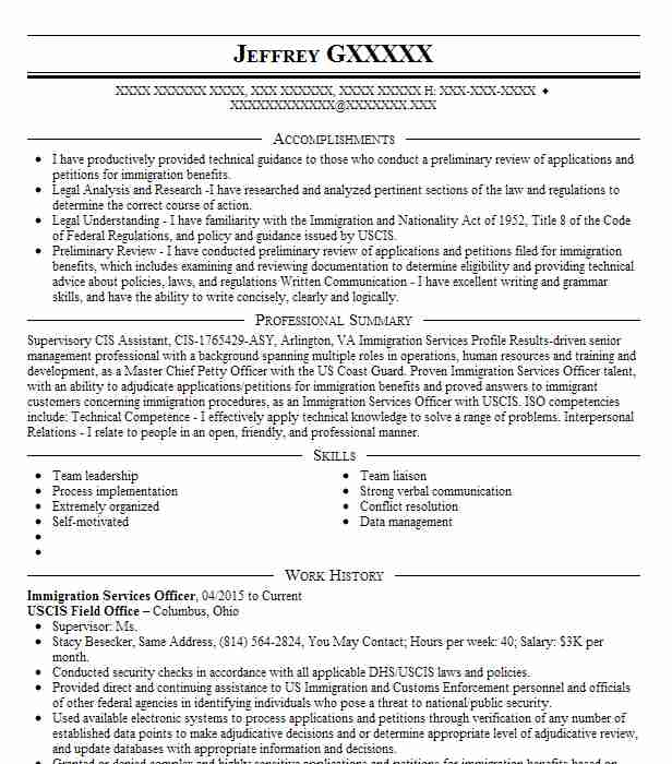 Immigration Services Officer Resume Sample Livecareer