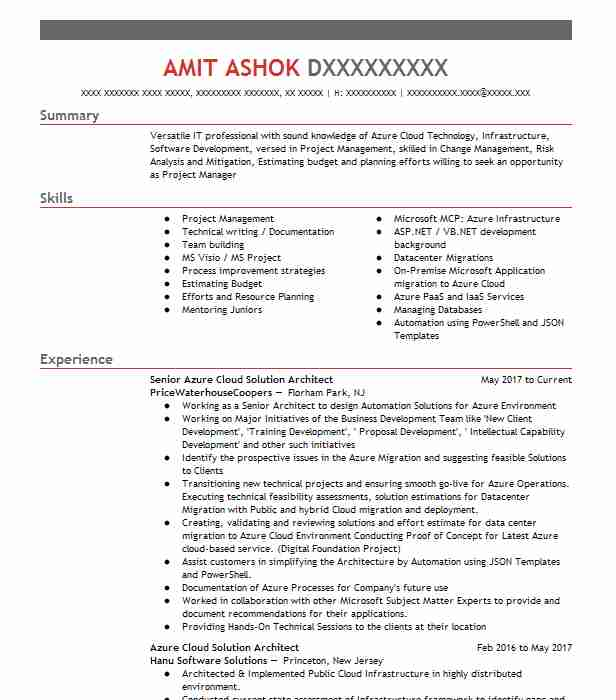 Azure Cloud Engineer Resume Example Cognizant Technology