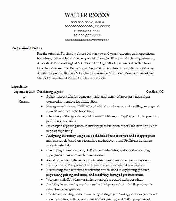 purchasing agent resume sample