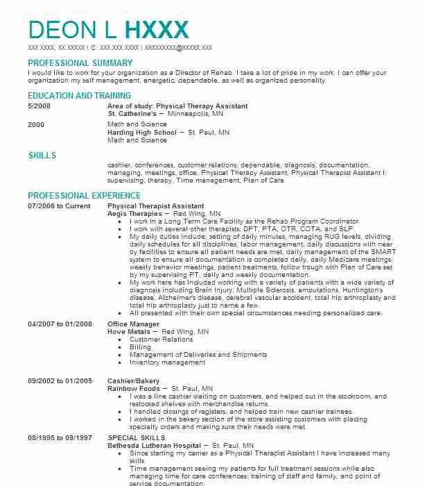Physical Therapist Assistant Resume Sample Resumes Misc