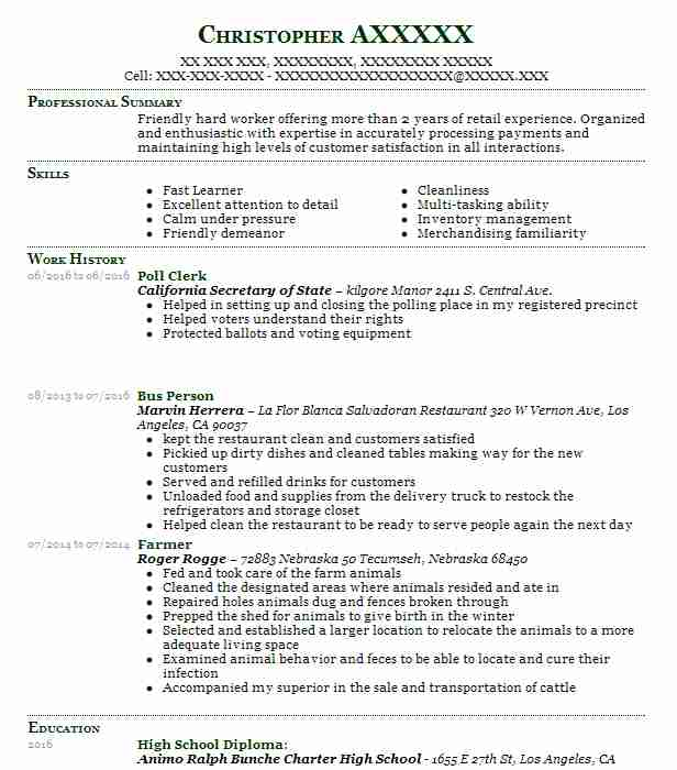 Poll Clerk Objectives | Resume Objective | LiveCareer