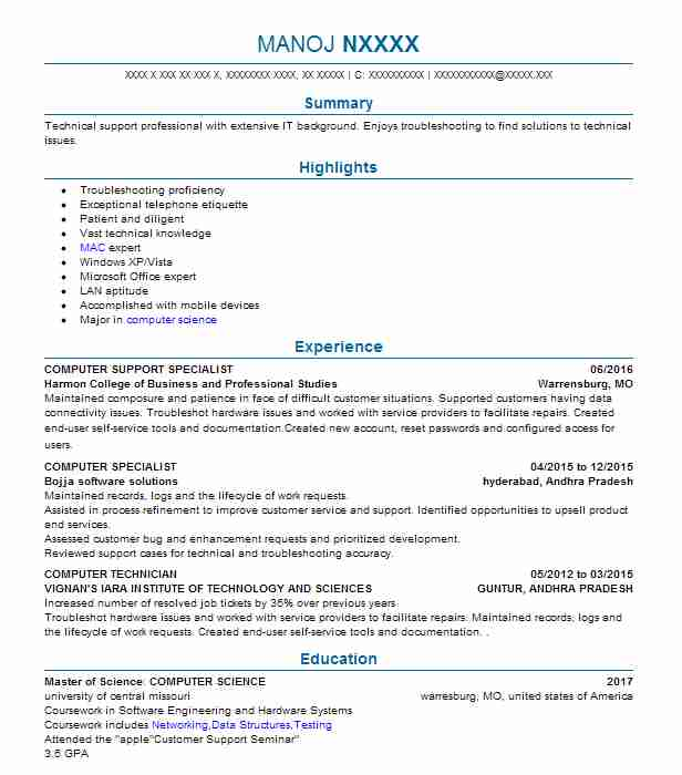 Computer Support Specialist Resume Sample Resumes Misc Livecareer