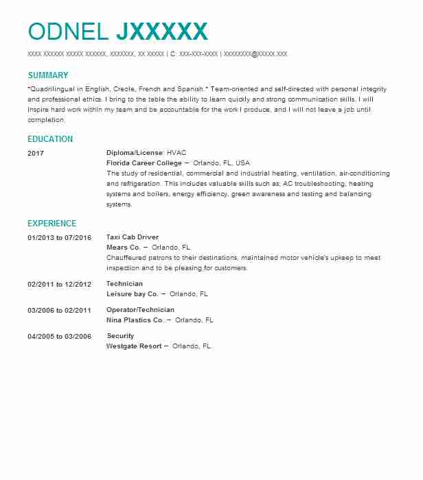 Taxi Cab Driver Resume Sample | Driver Resumes | LiveCareer