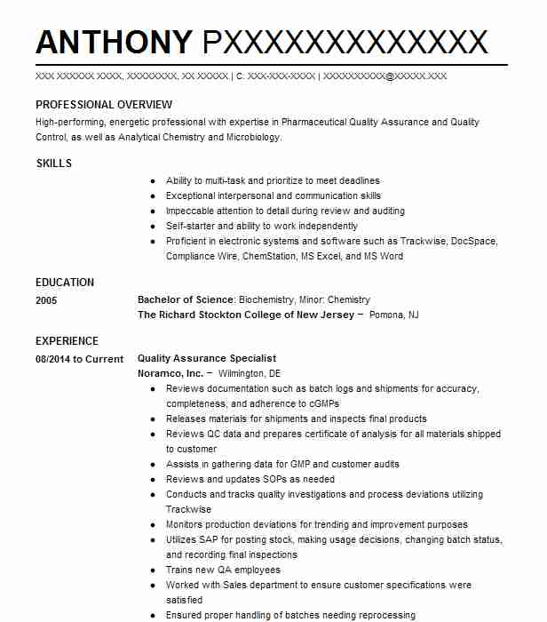 quality assurance specialist resume sample