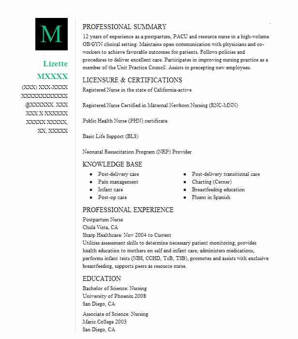 Postpartum Nurse Resume Sample Nursing Resumes Livecareer