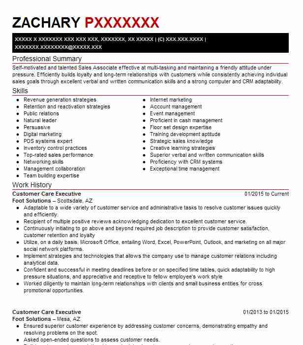 Customer Care Executive Resume Sample Executive Resumes Livecareer