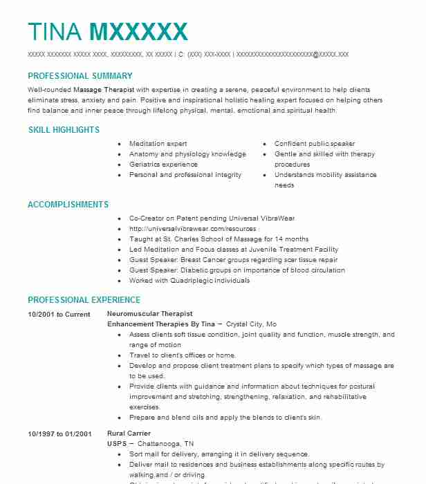 Neuromuscular Therapist Resume Example (Enhancement Therapies By ...