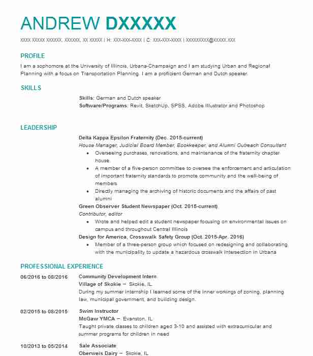 Urban And Regional Planning Resume Samples  Architecture Resume Sample