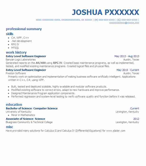 Entry Level Software Engineer Resume Example Livecareer